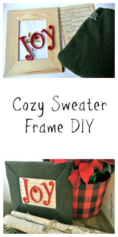 A sweater covered frame for your cabin Christmas decor.