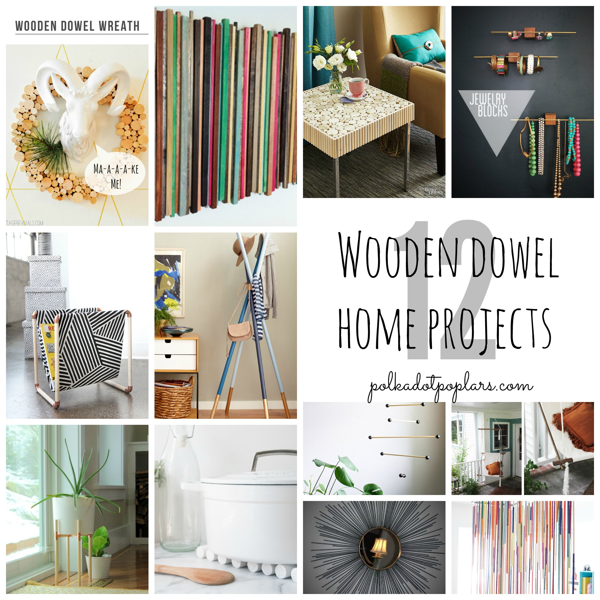 12 Wooden Dowel Home Project Ideas.