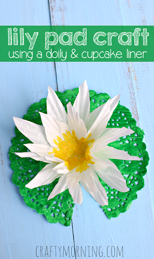 lily-pad-craft-using-a-doily-cupcake-liner