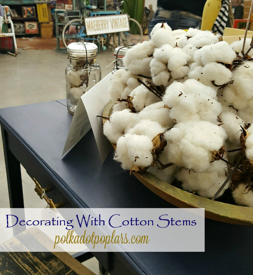 Decorating with cotton. Cotton stems.