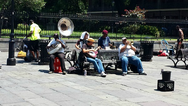 A jazz band in the square of New Orleans, Louisiana.