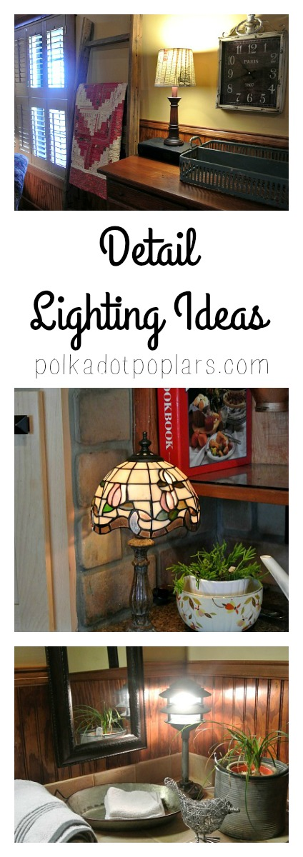 Some great ideas to add some warm lighting to areas of your home along with instructions for a DIY lamp shade makeover.