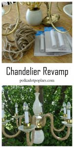 Easy Chandelier Makeover by just adding jute.