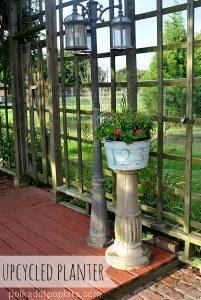 An old bird bath stand and rugged galvanized wash basin make a fun planter.