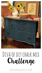 Giving a piece of furniture a chalk paint type look is so easy and inexpensive with Diva of DIY Chalk Mix.