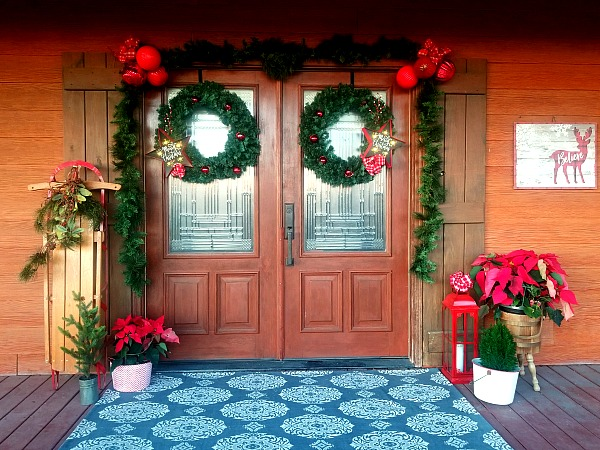 decorated double doors for Christmas