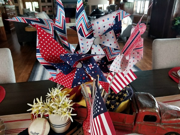 Pinwheel and Flag Centerpiece