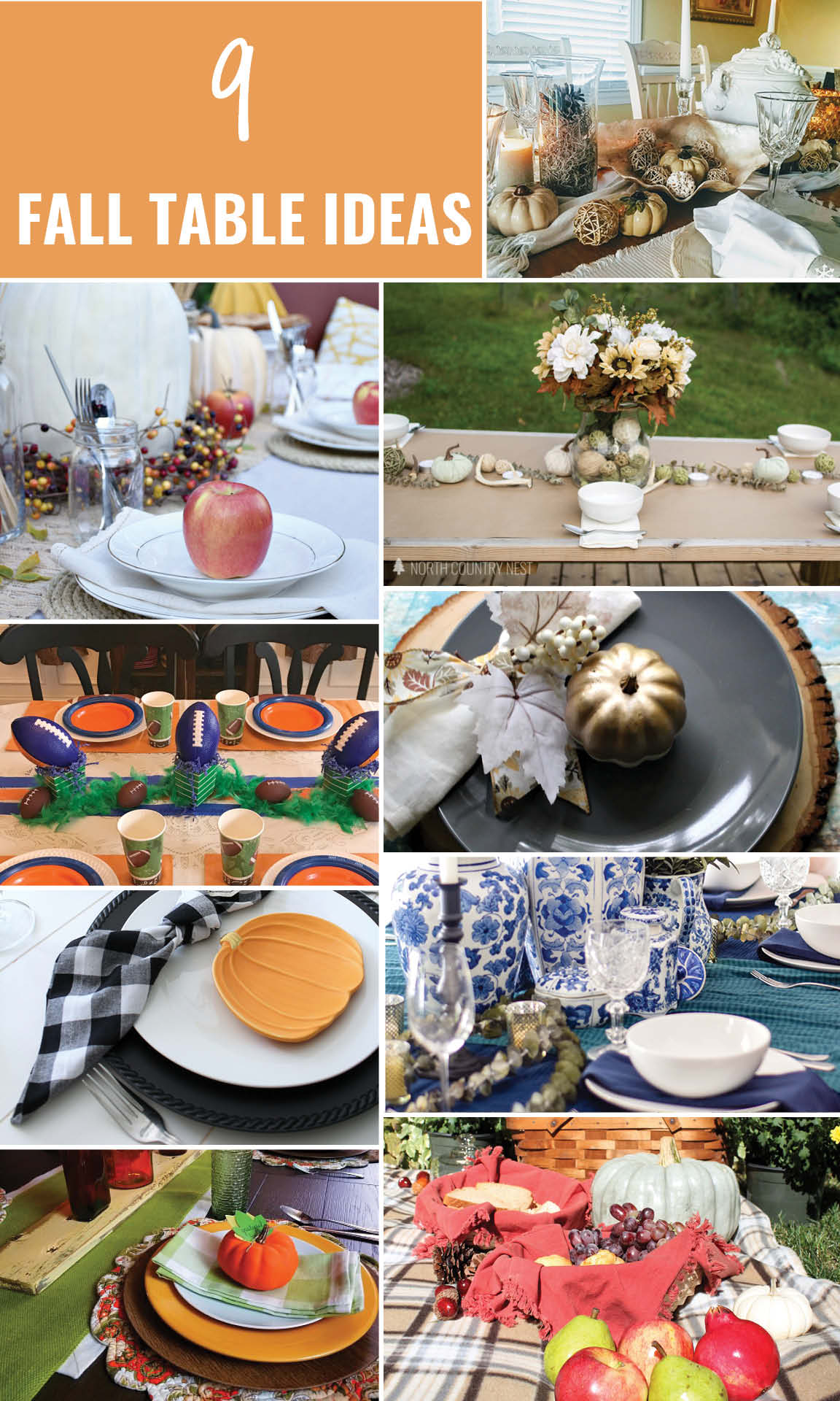 A variety of Fall tablescapes