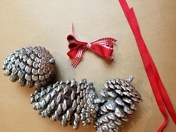 pinecones and ribbon