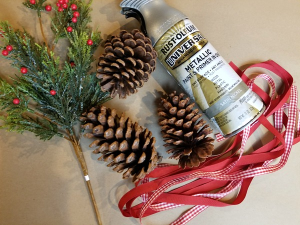 supplies to make decorated pinecones
