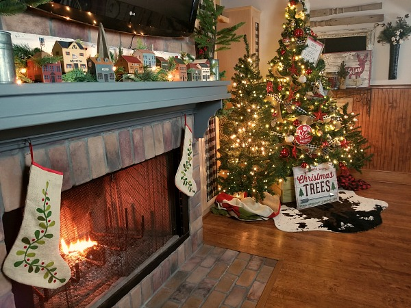 Christmas around the fireplace
