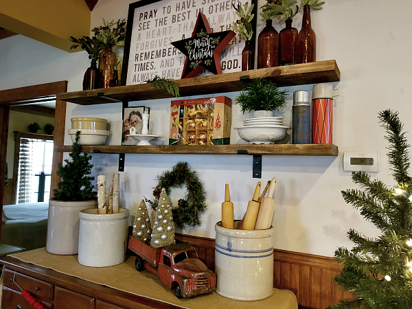 Open Shelves Decorated for Christmas