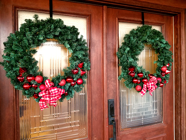 wreaths on a door