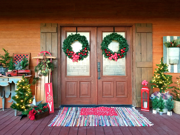 Christmas wreaths on double doors