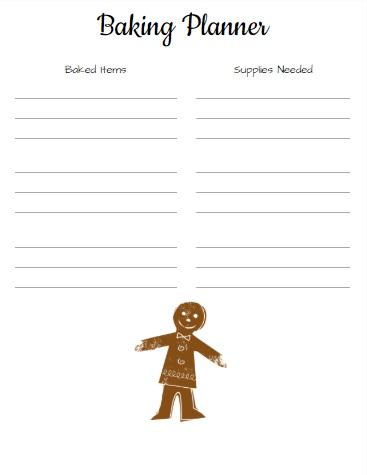 Baking Planner Sheet