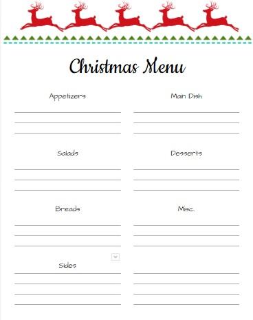 Christmas Menu Planning Page