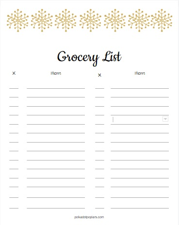 Christmas Grocery List