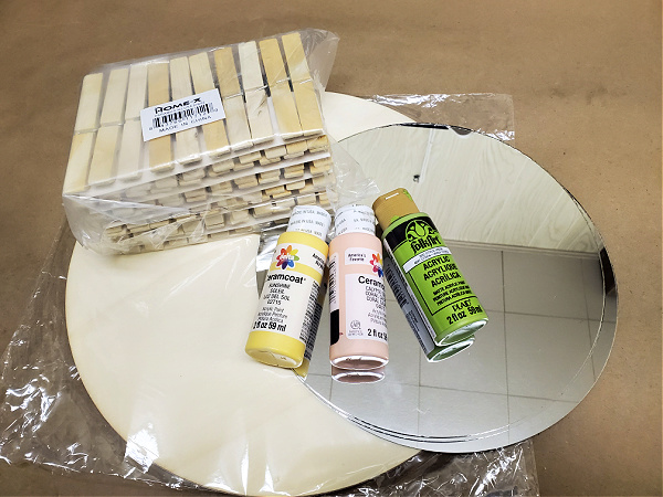 supplies to make mirror and photo hanger