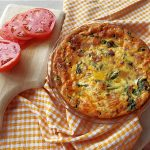 Breakfast egg pie and tomatoes