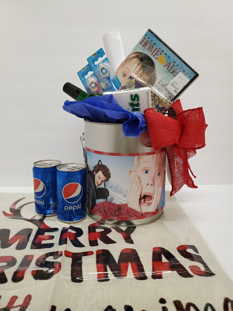 Can of Christmas goodies
