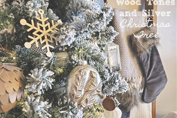 Wood Tone and Silver Christmas Tree