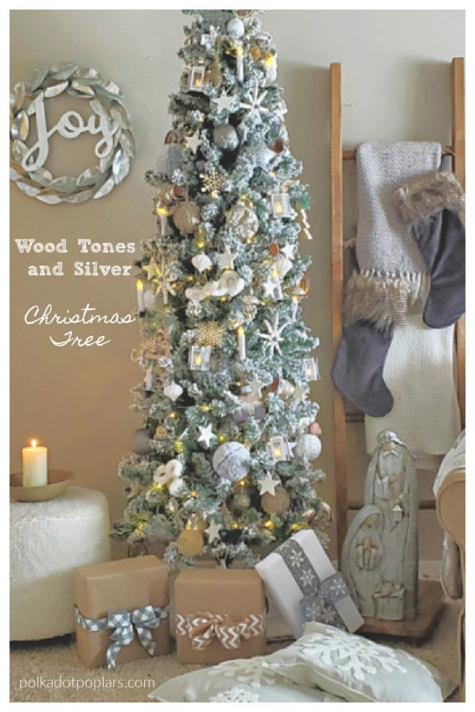Wood tone and silver Christmas tree scene